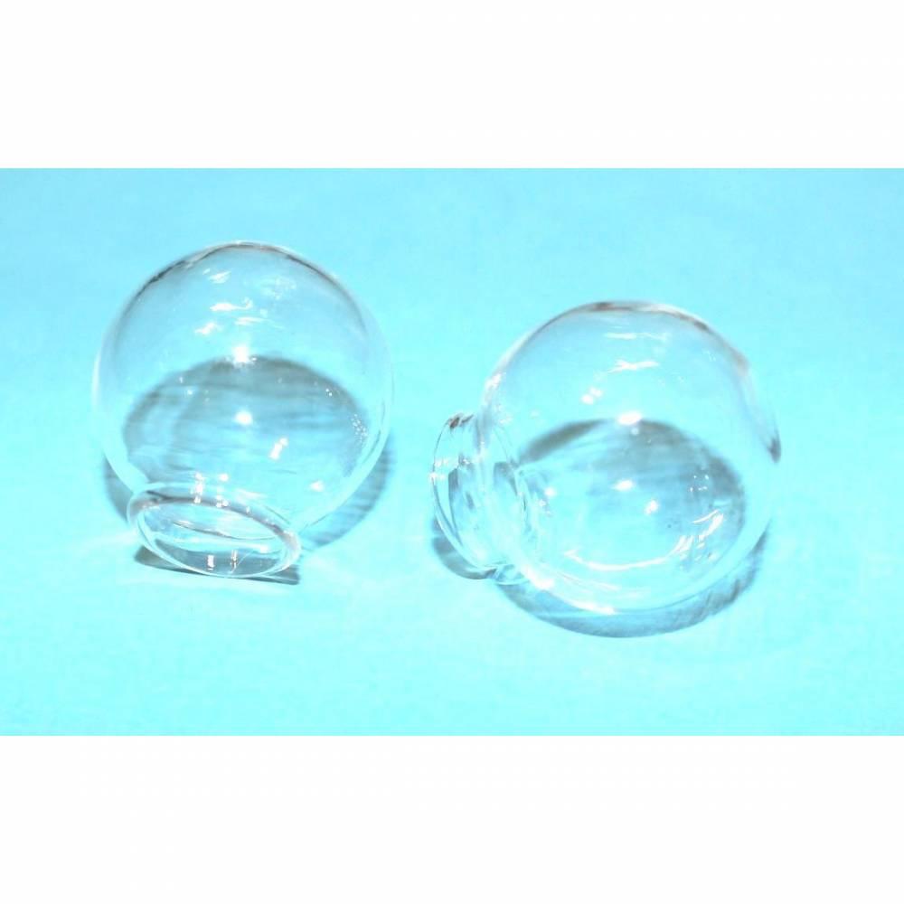 5 Glaskugel Hohlperlen Glasperlen mundgeblasen 25 mm Hohlglasperle klar Bild 1