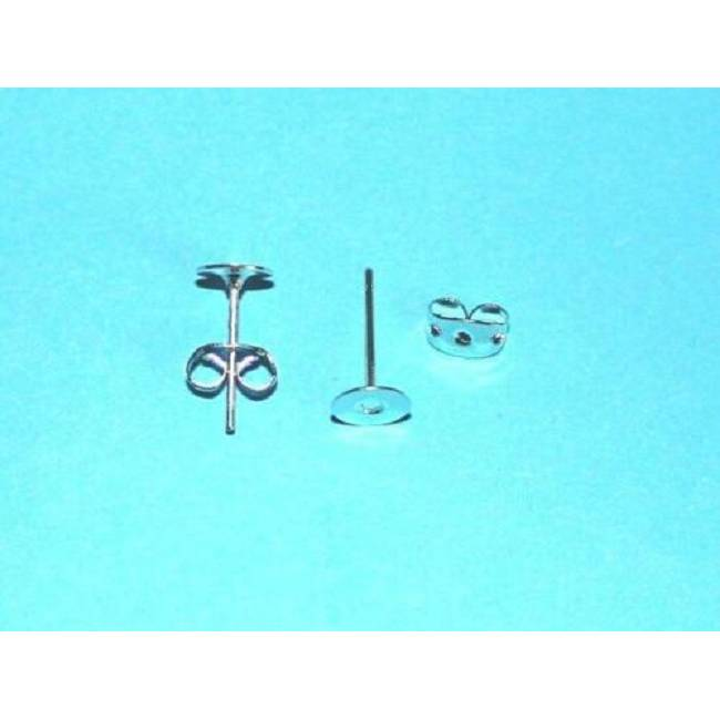 Ohr-Stecker Rohlinge Ohrstecker mit Ohrstopper Metall versilbert 6mm Klebeplatte Mengen Bild 1
