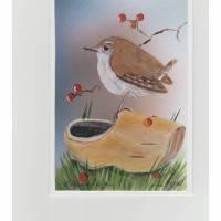 Gruß- und Sammelkarte-  Zaunkönig auf einem Klumpen- handgemalt Bild 1