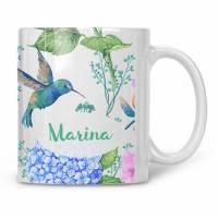 Teetasse Kolibri Tasse personalisiert mit Namen Bild 1
