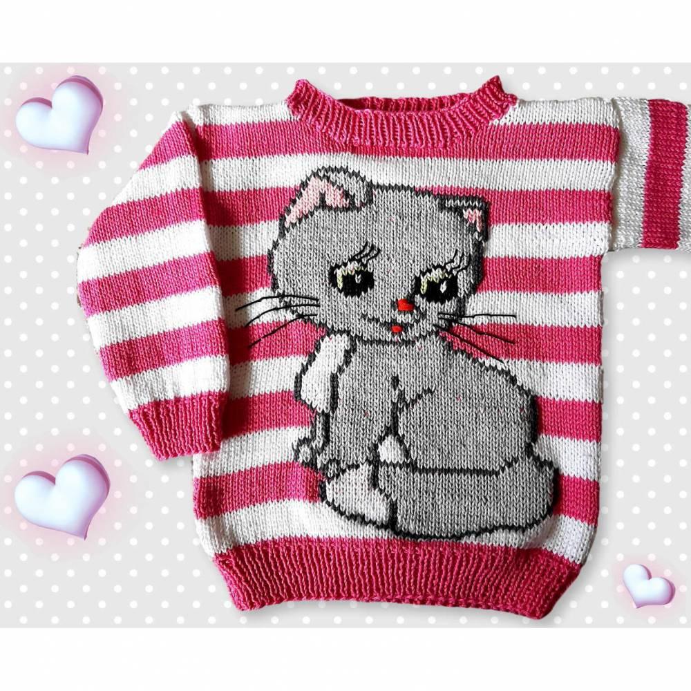 Strickanleitung Pullover Katze in 2 Größen Bild 1