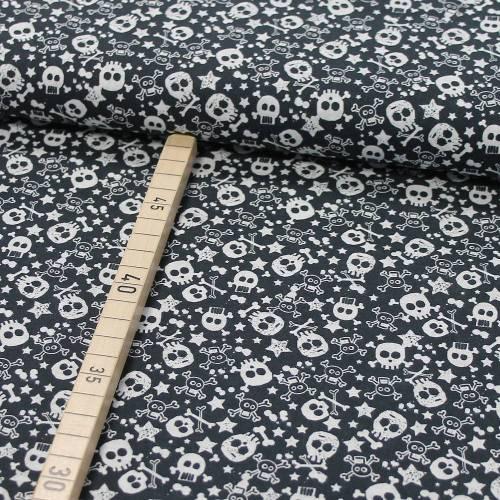 Baumwolle Totenkopf Skull und Sterne auf schwarz