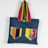 genähte Handtasche in blau bunt mit Motiv Bild 1