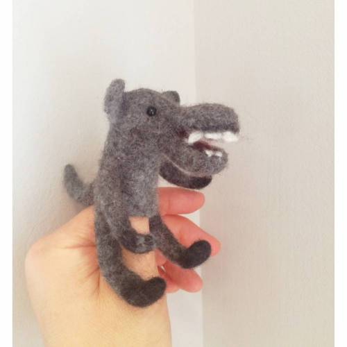 Fingerpuppe gefilzt Wolf