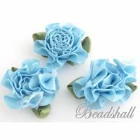 10 Blumen aus Stoff mit Blatt Farbe Hellblau Stoffblumen Applikationen Tischdeko Bild 1