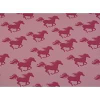 French Terry Baumwolljersey Spirit Pferde  unangeraut rosa  Oeko-Tex® Standard 100 (1m/16,-€)  Bild 1
