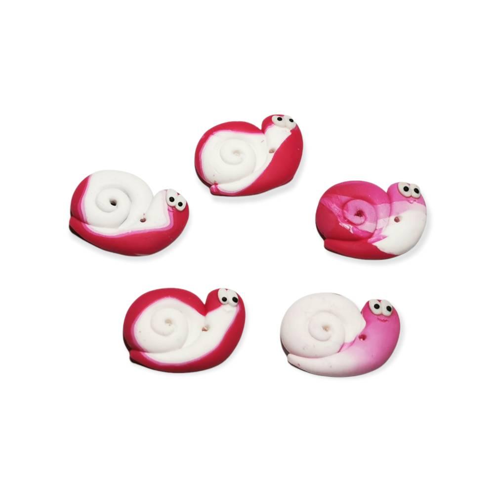 5x Schnecken Knopf pink Töne Bild 1