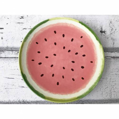 Teller 20cm Ø, Wassermelone , Keramik handbemalt
