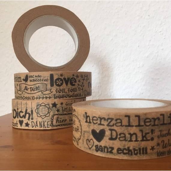 """Papierklebeband """"herzallerliebsten Dank"""" schwarz 38mm Bild 1"""