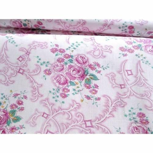 Antiker Bauernstoff, Wäschestoff in rosa, magenta, lila mit kleinen Rosen, unbenutzt