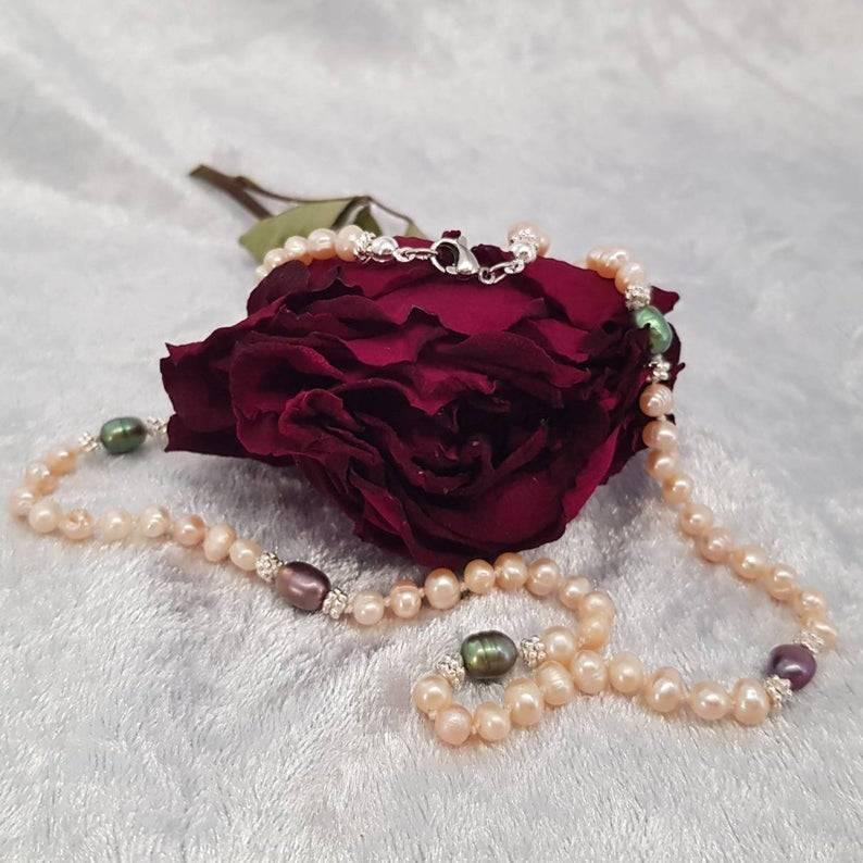 Perlenkette aus Süßwasserperlen, Halskette, Collier, Apricot, Perlenschmuck, 925er Silber Bild 1