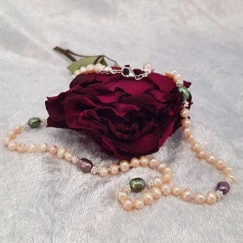 Perlenkette aus Süßwasserperlen, Halskette, Collier, Apricot, Perlenschmuck, 925er Silber
