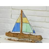 Segelschiff aus Treibholz und Tiffanyglas, Tiffanykunst,  zur Dekoration, maritim,  Segelschiff zum Träumen Bild 1