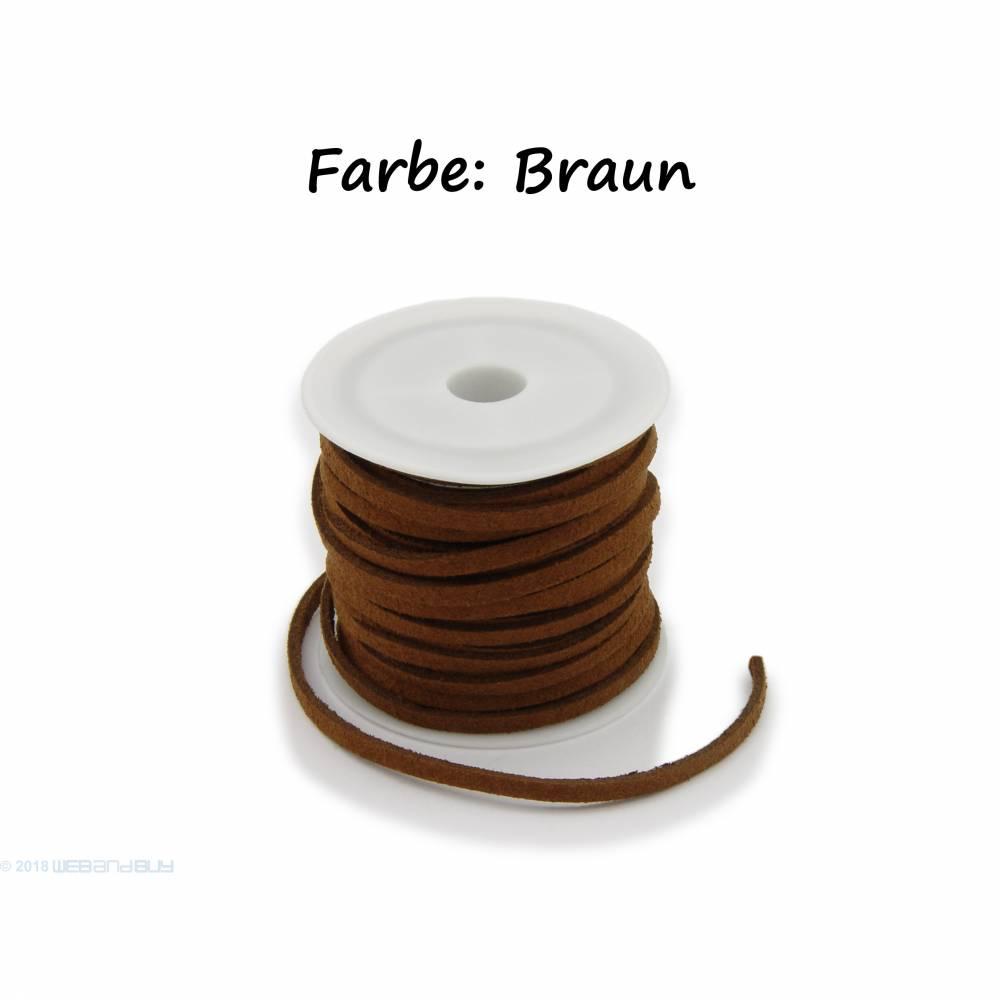 Kunstlederband in Wildlederoptik Farbe: Braun 5m lang 1,5mm dick 3mm breit Bild 1