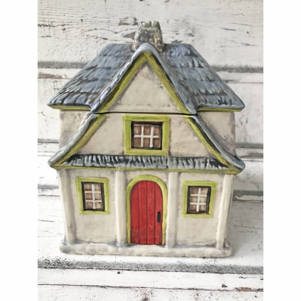 Dose Cottage /Haus, Vorratsdose, Keksdose, Keramik handbemalt Bild 1