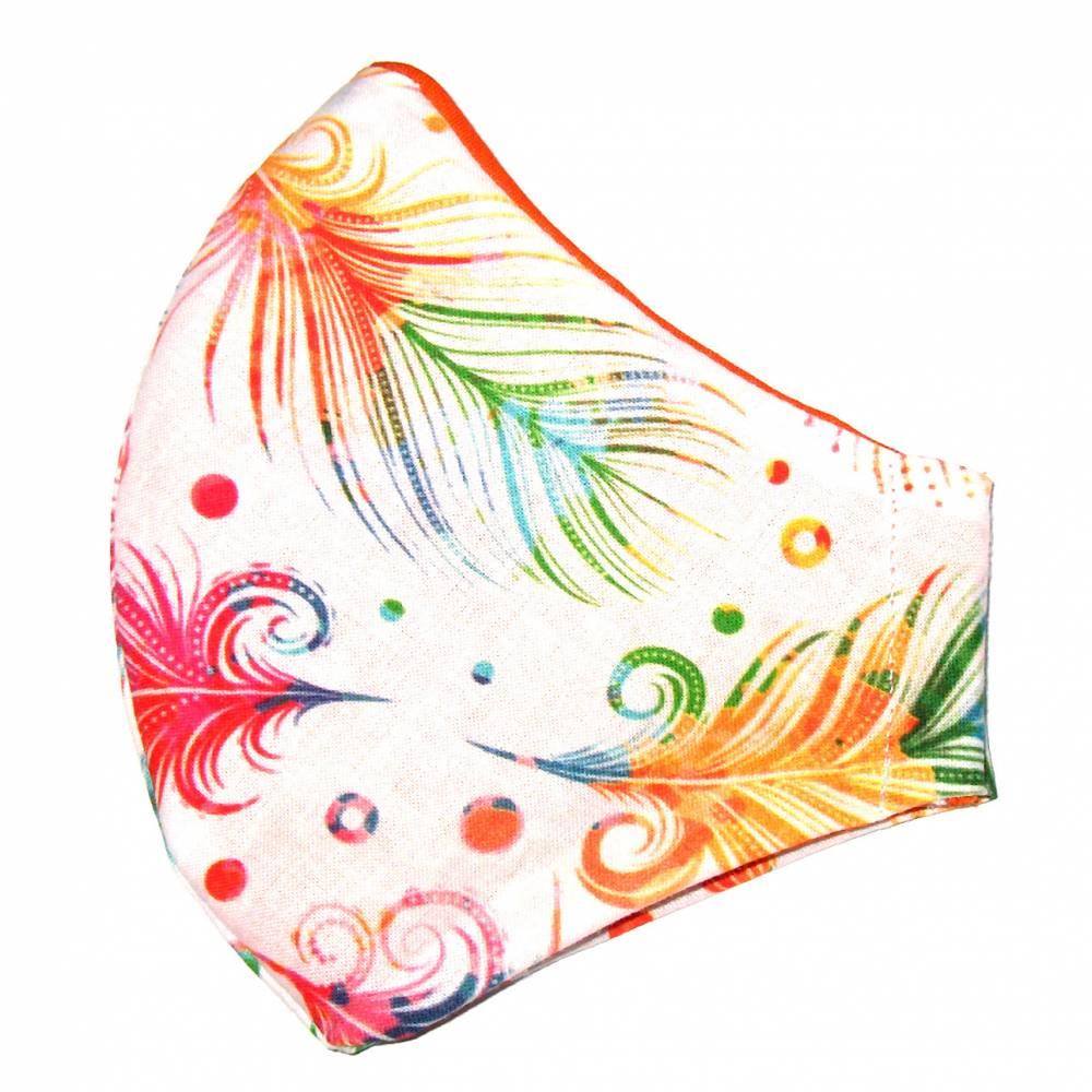 """MuNaske - Behelfs-Mund-Nase-Maske """"Bunte Federn"""", Größe M, genäht aus Baumwollstoff, OHNE Nasenbügel - Waschbar - Behelfsmaske - Alltagsmaske Bild 1"""