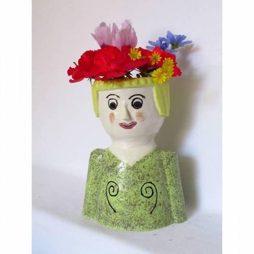 Blumenfrau aus Keramik, Skulptur Tonfigur