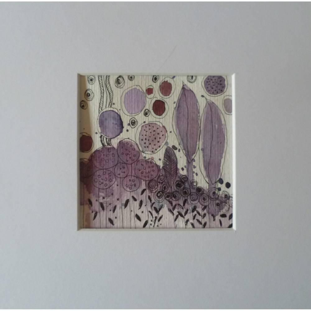 Aquarellbild abstrakt lila mit Passepartout Doodle Geschenk Bild 1