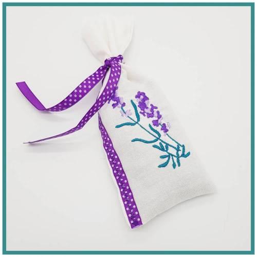 Set 2 weiße Lavendelduftkissen, Lavendelsäckchen, ca 8 cm x 19 cm, Lavendel aus Eigenanbau, ohne Füllstoffe