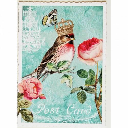 Nostalgie Postkarte  Glitterpostkarte Vogel mit Krönchen