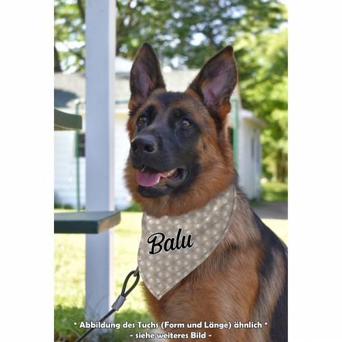 Halstuch für Hunde, mit Name, Pfötchen beige, in 3 Größen bestellbar