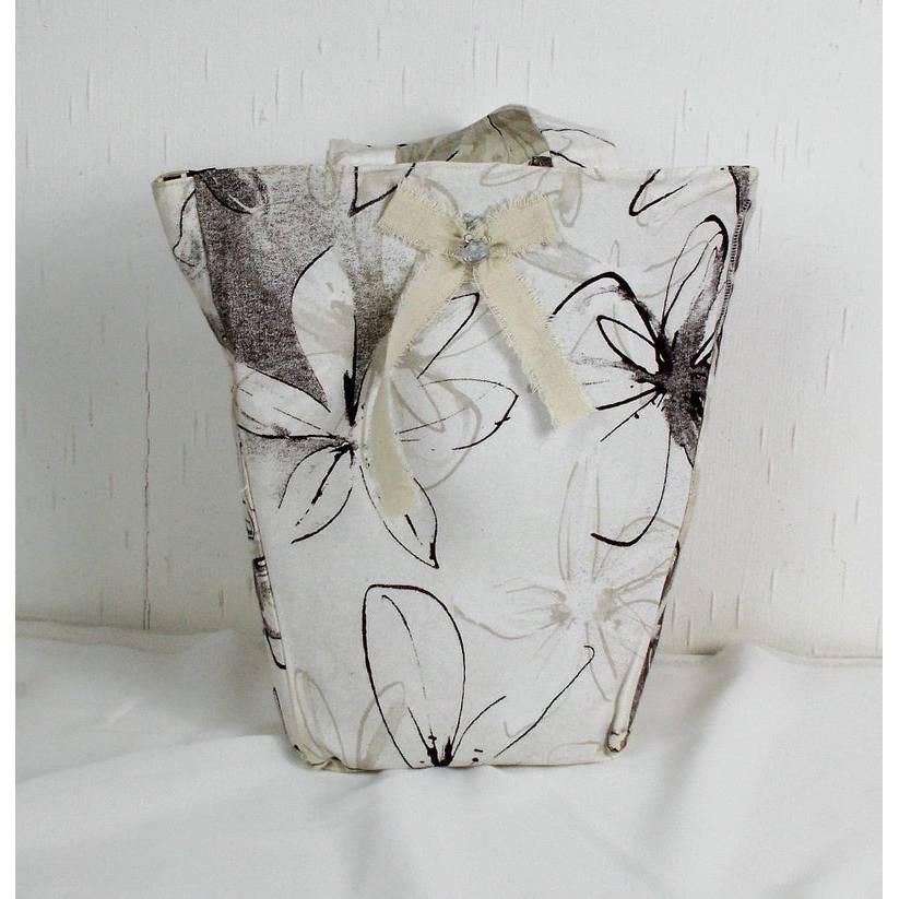 genähte Handtasche in grau weiß, Shopper, Einkaufstasche Bild 1