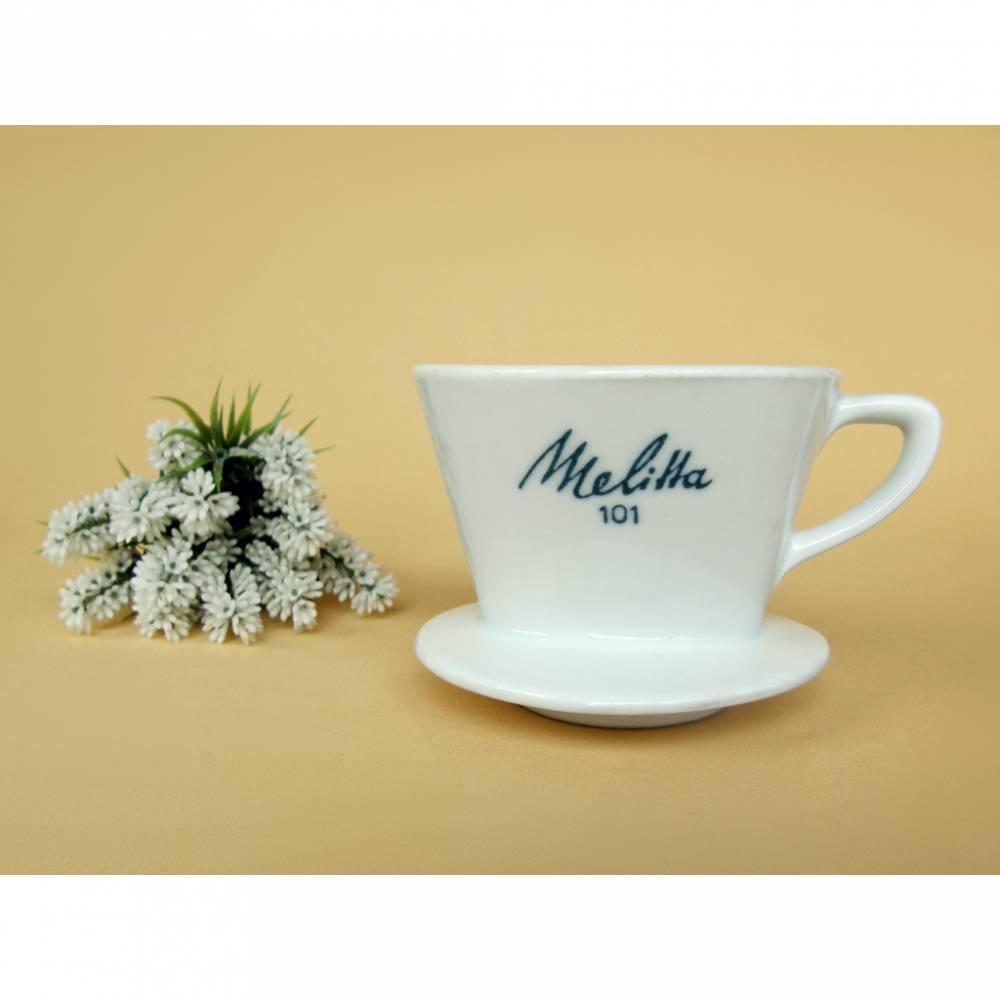Vintage - Kaffeefilter 101 blaue Schrift Melitta 4 Löcher Bild 1