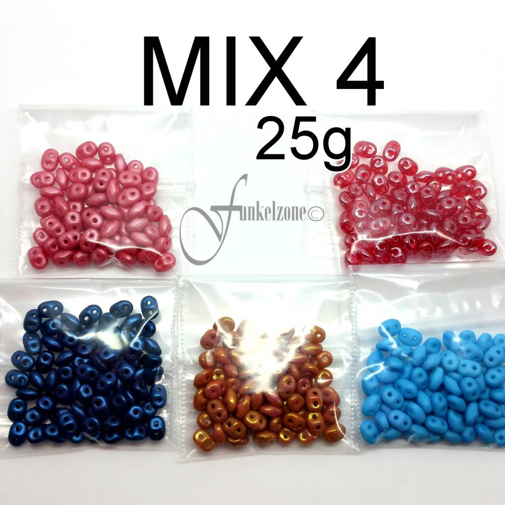 SUPER DUO | MATUBO | Zweiloch Perlen | Perlen Mix 4 | 5 x 5g Bild 1