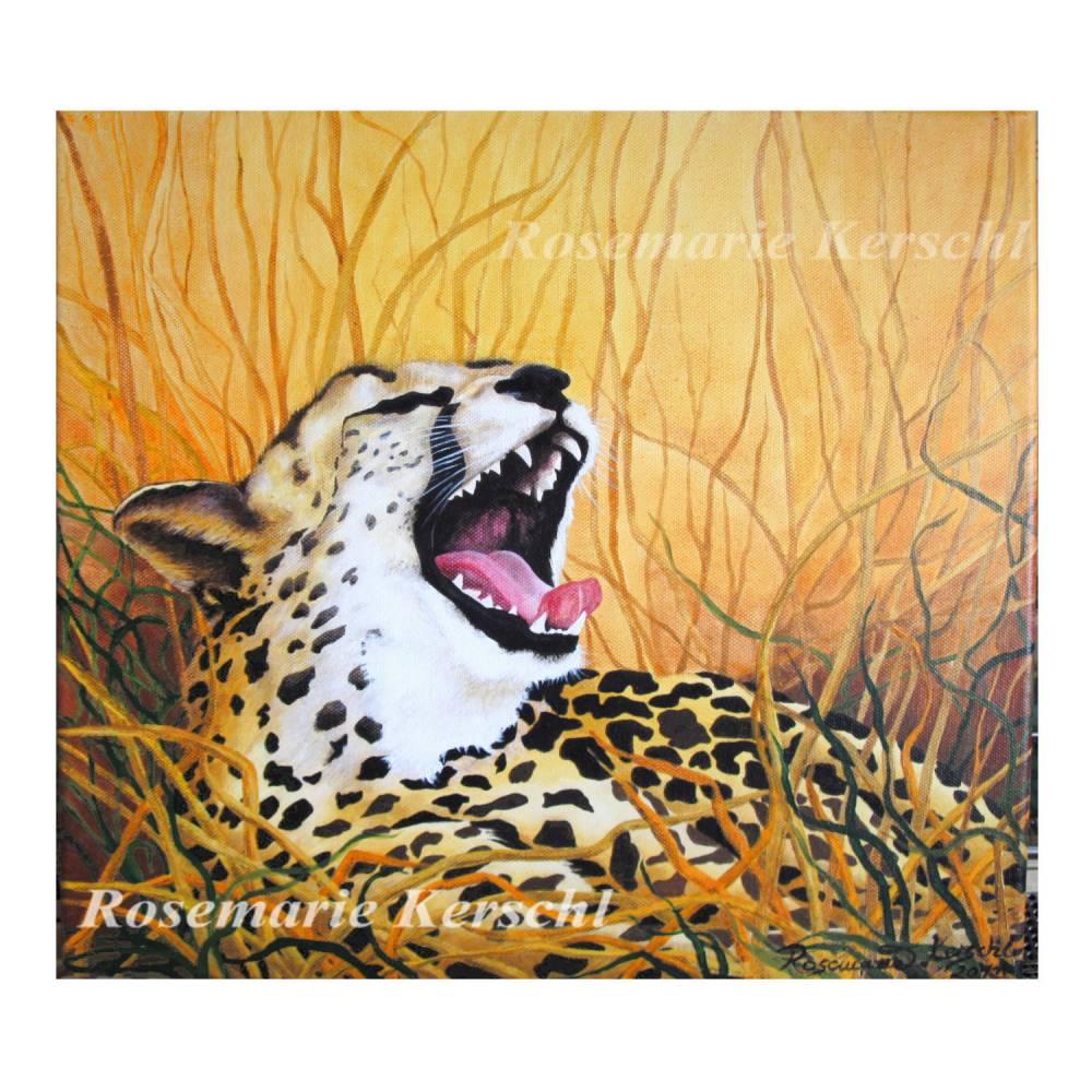 Gepard in der Savanne Acrylbild handgemalt auf Leinwand mit Keilrahmen Größe 40 x 40 cm Bild 1