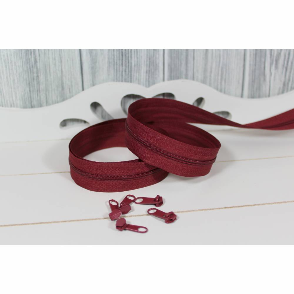 Reißverschluss Meterware Endlosreißverschluss 3mm Schiene incl. 5 Zipper pro Meter Bordeaux Bild 1