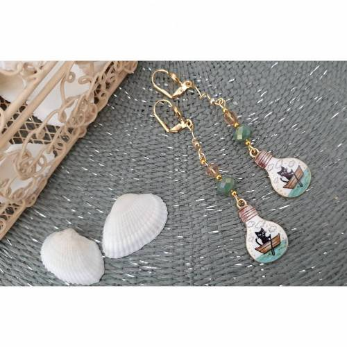 Ohrringe Anhänger Charms Schlüsselanhänger Perlen gold rosé-gold Katze Papierschiffchen Emaille