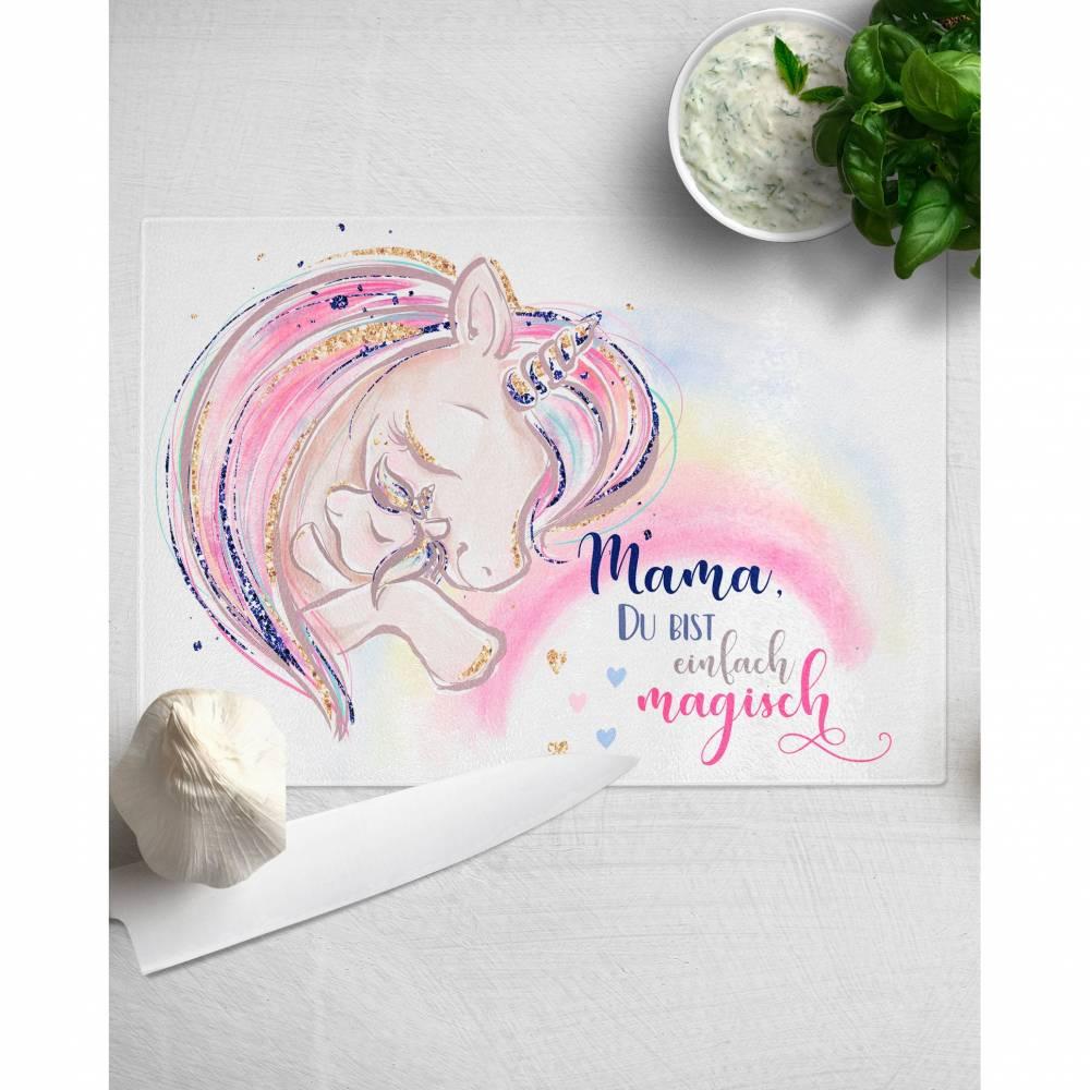 Einhorn Schneidebrett Glas Geschenke für Mama Bild 1