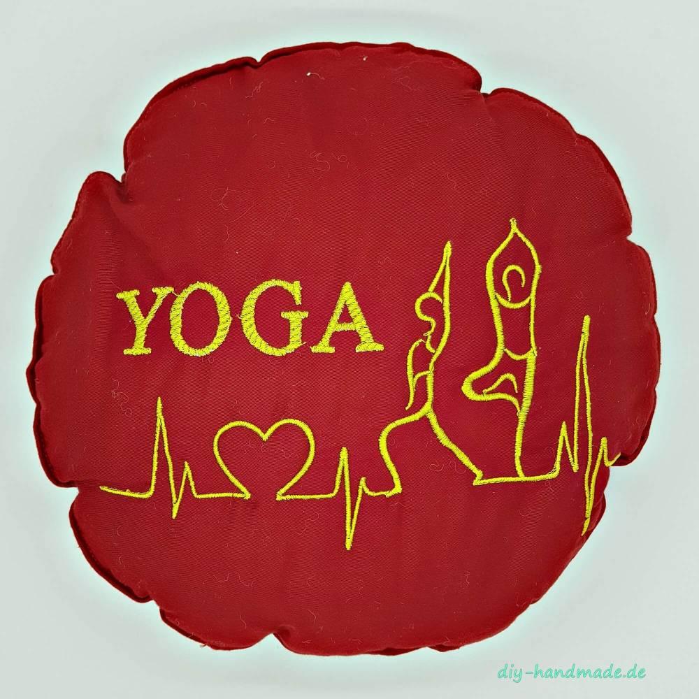 Yogakissen rot rund bestickt mit YOGA, Meditationskissen, Ø 27 cm Bild 1