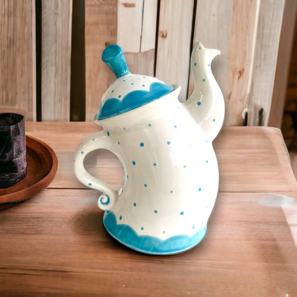 tanzende Teekanne ,türkis, Punkte, 1,5l, aus Keramik, handbemalt Bild 1