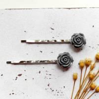 Grey Roses • Haarklammern silber | Haarschmuck | Geschenkidee Frau | Freundin | Schwester | Mama Bild 1