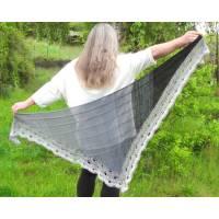 Dreieckstuch Sommertuch Schal Schultertuch *Smoke* mit Farbverlauf in hellgrau bis schwarz handgestrickt und gehäkelt   Bild 1