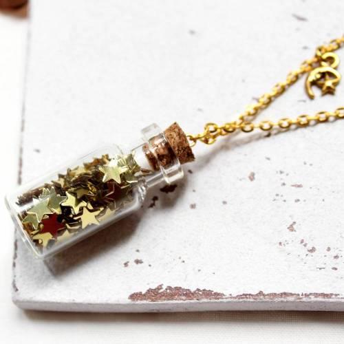 Golden Stars • Halskette Glas   Halsschmuck   Geschenkidee Frau   Freundin   Schwester   Mama