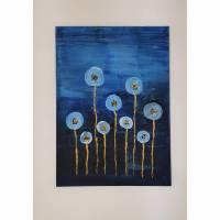 Blumen Acrylbild Abstrakte Malerei Handgefertigt auf Leinwand Blaue Kunst