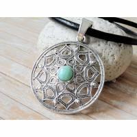 Lederkette Amulett Bohamian antiksilber Türkisimitat Anhänger Lederhalskette naturfarbend braun schwarz  Bild 1