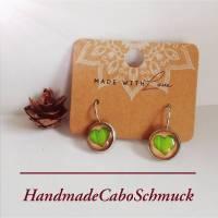 12mm Cabochon Ohrringe Ohrhänger Ohrstecker Herz grün, Edelstahl oder Bronzefassung Bild 1