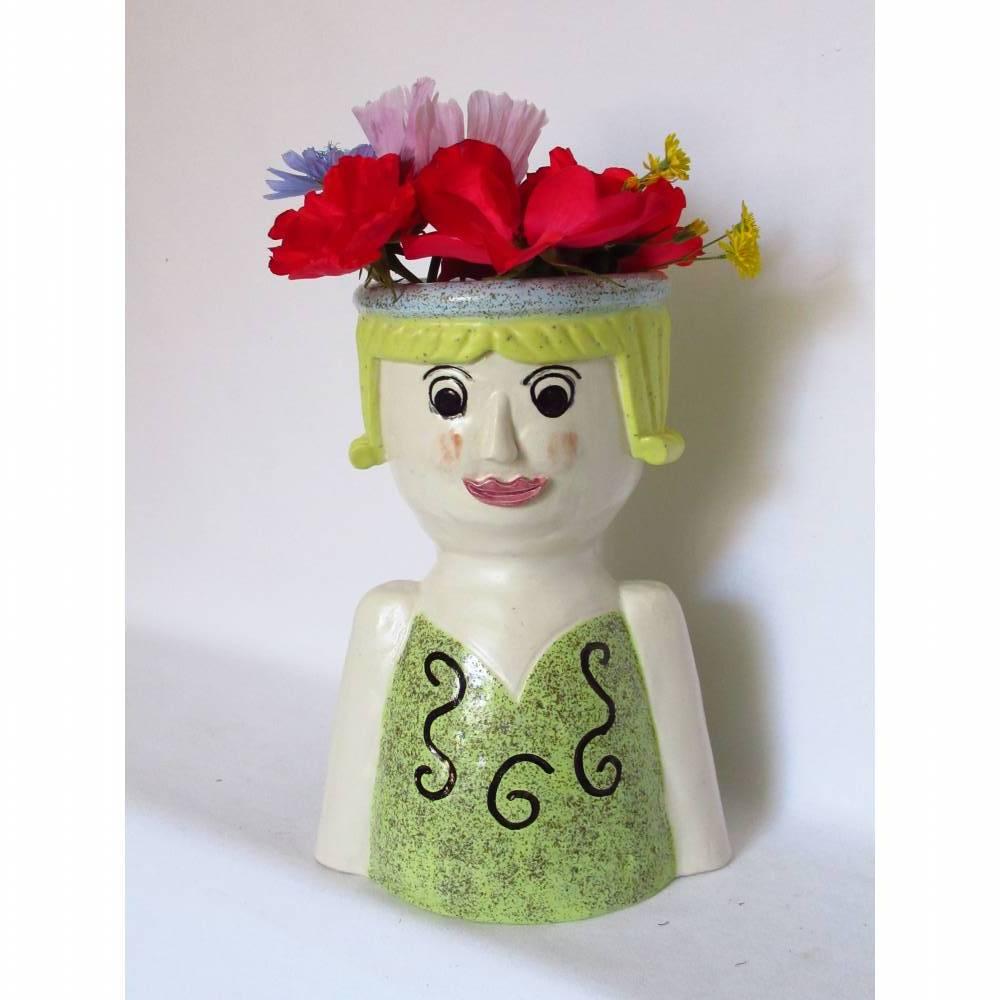 Blumenfrau aus Keramik, Skulptur Tonfigur Bild 1