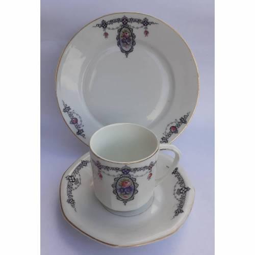 Vintage Gedeck für Tee / Kaffee, Sammelgedeck, Hertel-Jakob-Rehau Bavaria Randvergoldung