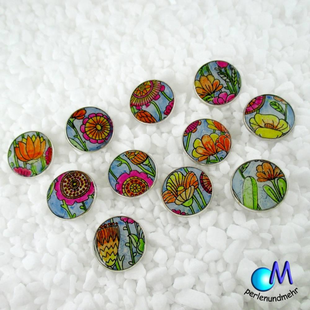 Metall Knöpfe Blumen 3991 Bild 1
