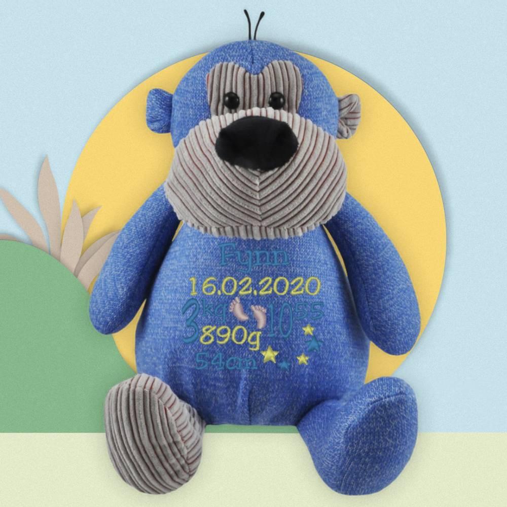 Affe blau Schmusetier Kuscheltier mit Namen & Datum bestickt / personalisiert Bild 1
