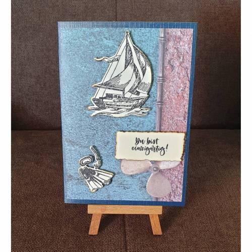 """Geburtstagskarte """" Du bist einzigartig """" Maritim , Schiff , Tauchflossen"""
