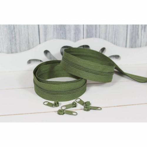 Reißverschluss Meterware Endlosreißverschluss 3mm Schiene incl. 5 Zipper pro Meter Oliv Olive