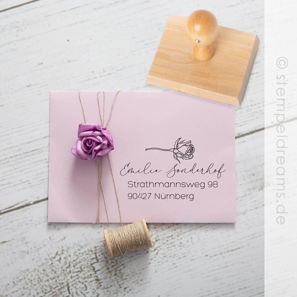 Adressstempel – mit Rose – personalisierter Holzstempel – Motiv: 707 Bild 1