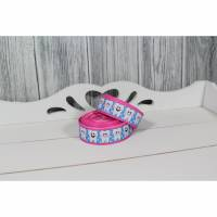 Ripsband Zahn Zähne Zahnarzt Zahnfee Blau Pink 22mm Ribbon Band Borte Nähen  Bild 1