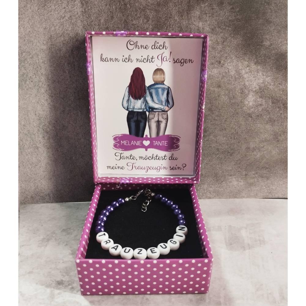 """Perlenarmband + Geschenkbox """"Möchtest du meine Trauzeugin sein?"""" personalisiert mit Namen + Grafik Bild 1"""