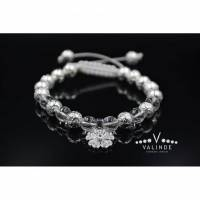Damen Edelsteinen Armband aus Lava Quarz und Cubic Zirkonia, Makramee Armband, 8 mm Bild 1